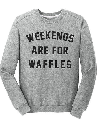 "Unisex ""Weekends Are For Waffles"" Fitted Crewneck by Pyknic (Grey) - www.inkedshop.com"