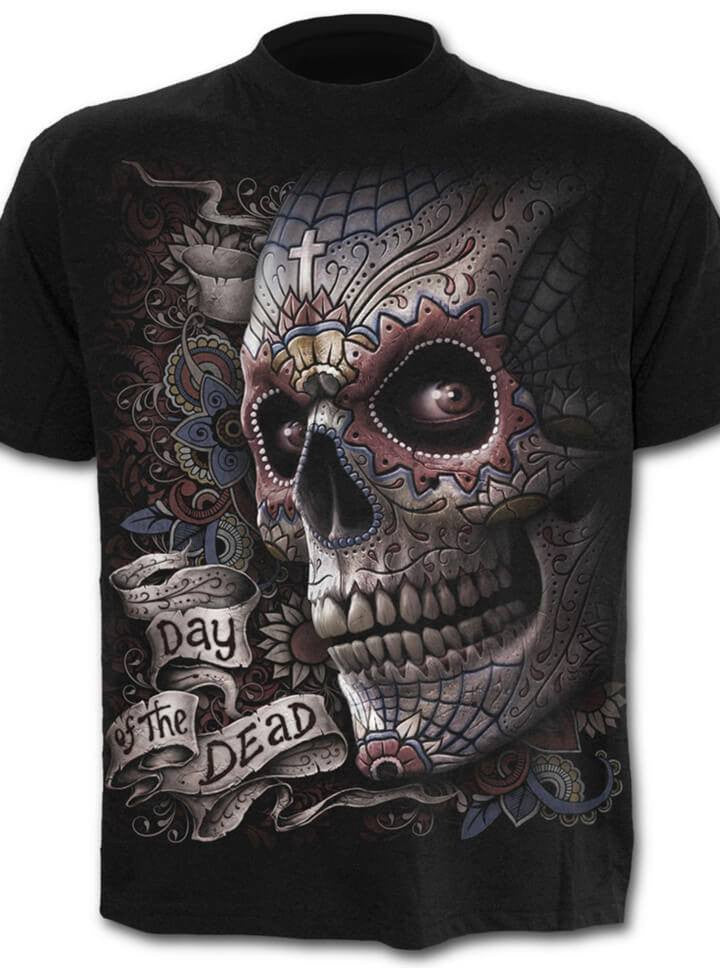 Day of the dead t shirts mens skull t shirts inked shop for Day of the dead body jewelry