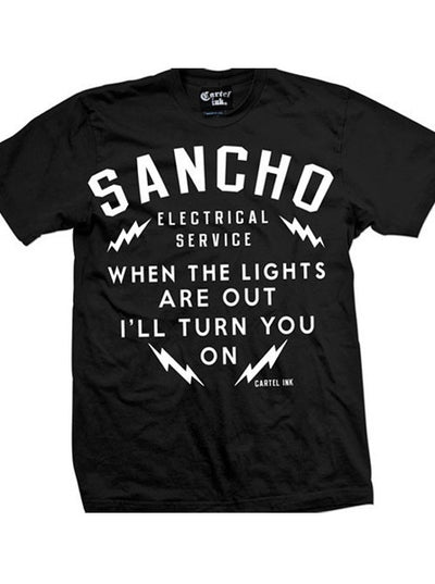 "Men's ""Sancho Electrical Service"" Tee by Cartel Ink (Black)"