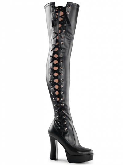 "Women's ""Electra"" Side Lace-Up Thigh High Boots by Pleaser (Black) - www.inkedshop.com"