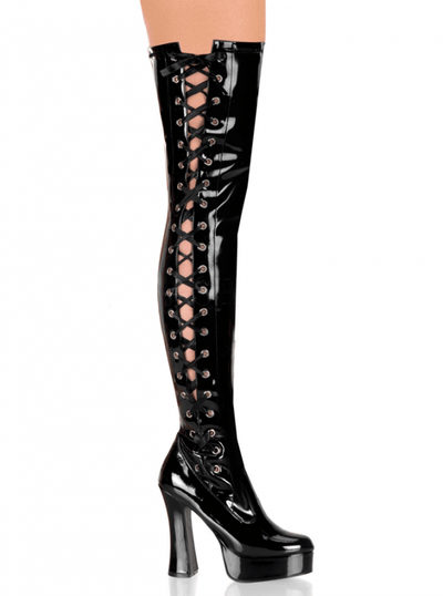 "Women's ""Electra"" Side Lace-Up Patent Thigh High Boots by Pleaser (Black) - www.inkedshop.com"
