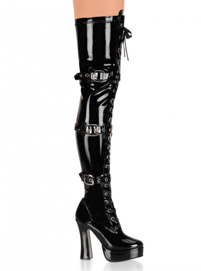 "Women's ""Electra"" Patent Thigh High Boots by Pleaser (Black) - www.inkedshop.com"