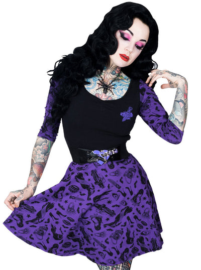 "Women's ""Elvira Comic Icons"" Skater Dress by Kreepsville 666 (Purple)"