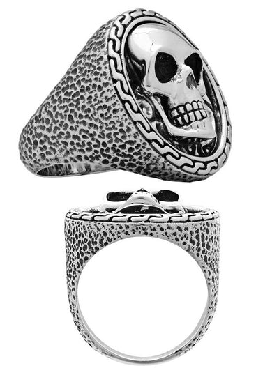 Grinning Skull Emblem Ring by Silver Phantom Jewelry