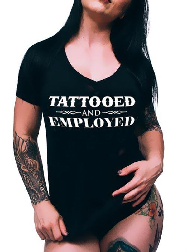 "Women's ""Tattooed And Employed"" V-Neck Tee by Steadfast Brand (Black)"