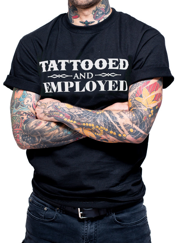 "Men's ""Tattooed and Employed"" Tee by Steadfast x Inked (Black)"