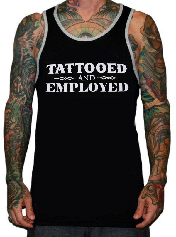 Men's Tattooed and Employed Ringer Tank by Steadfast Brand