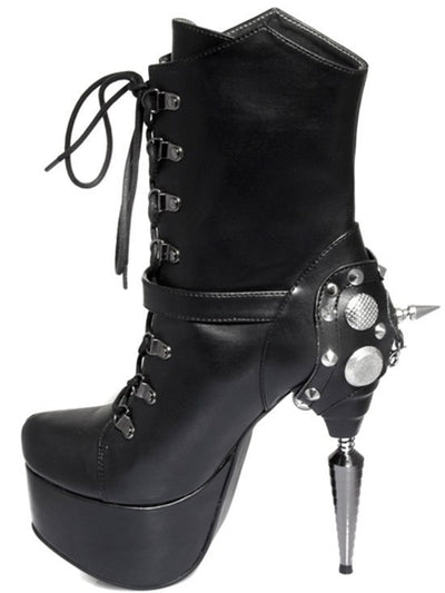 """Envy"" High Heel Boots by Hades (Black) - www.inkedshop.com"