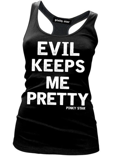 "Women's ""Evil Keeps Me Pretty"" Tank by Pinky Star (Black) - www.inkedshop.com"