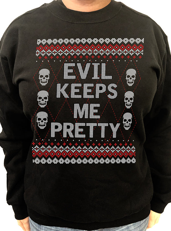 Women's Evil Keeps Me Pretty Ugly Christmas Sweatshirt by Pinky Star