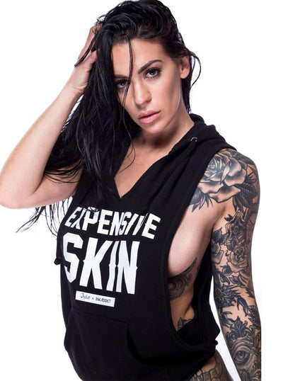 "Women's ""Expensive Skin"" Sleeveless Hoodie by InkAddict X Inked (Black)"