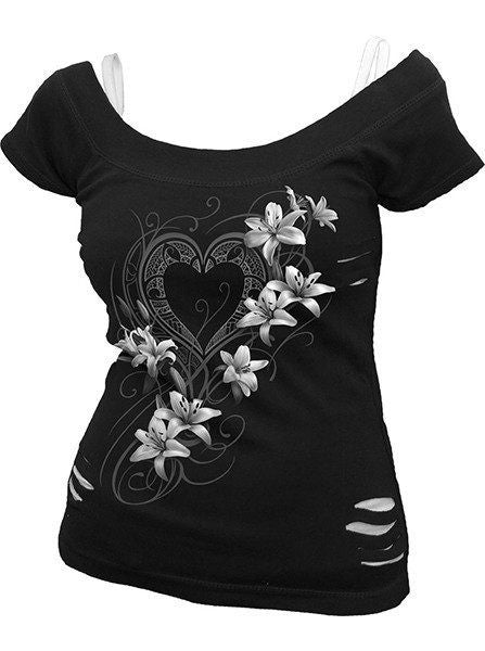 "Women's ""Pure of Heart"" Top by Spiral USA (Black) - www.inkedshop.com"