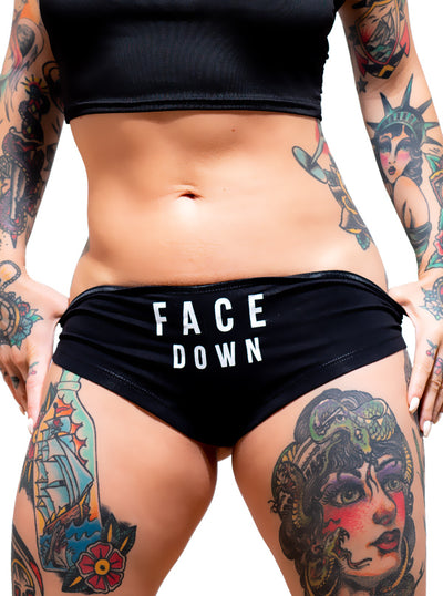 Women's Face Down Ass Up Booty Shorts by Dirty Shirty