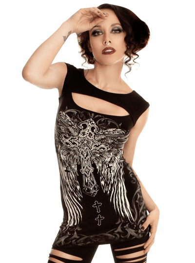 "Women's ""Fallen Angel"" Top by Folter Clothing (Black) - www.inkedshop.com"