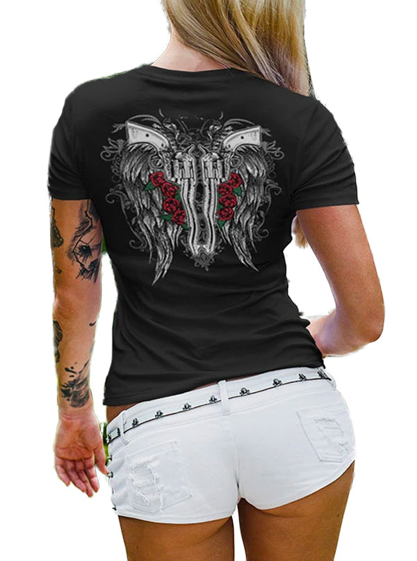 Women's Fallen Angel V-Neck Tee by Tat Daddy