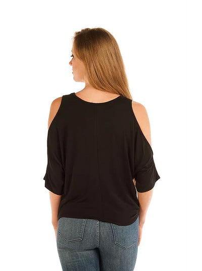 Women's Falling Feathers Cold Shoulder Top by Liberty Wear