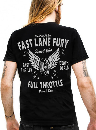 "Men's ""Fast Lane Fury"" Tee by Cartel Ink (Black)"