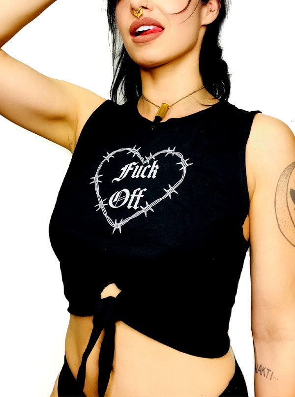 Women's Fuck Off Tie Muscle Tee by Gypsy Treasures