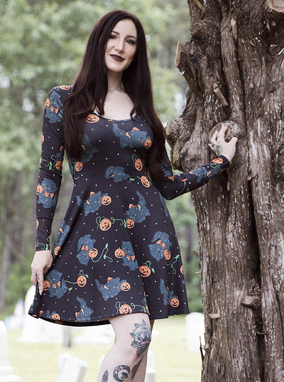 Women's Spooky Feline Skater Dress by Sourpuss