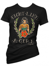 "Women's ""Fight Like A GIrl"" Tee by Pinky Star (Black) - www.inkedshop.com"