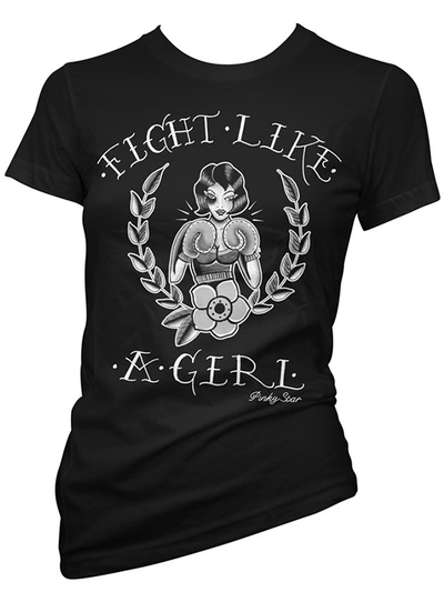 "Women's ""Fight Like A GIrl"" Tee by Pinky Star (Black/White) - www.inkedshop.com"