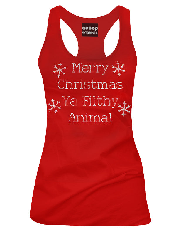 Women's Merry Christmas Ya Filthy Animal Tank by Aesop Originals