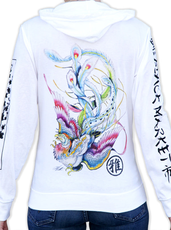 Women's Fire Bird Zip Hoodie by Black Market Art