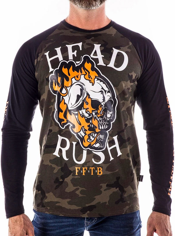 "Men's ""Jump In Fire"" Long Sleeve Raglan by Headrush Brand (Camo)"