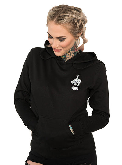 "Women's ""Firm Believer"" Hoodie by InkAddict (Black)"