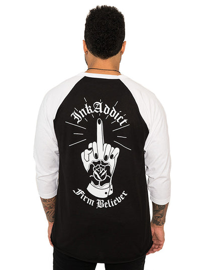 "Unisex ""Firm Believer"" Baseball Tee by InkAddict (Black/White)"