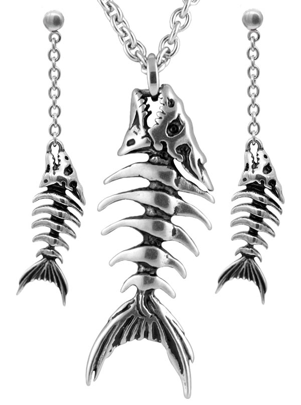 Fish Bones Necklace and Earrings by Controse