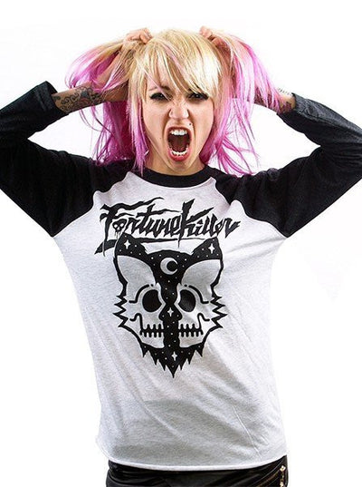 "Women's ""Killer Cat"" Baseball Tee by Fortune Killer (Black/White) - www.inkedshop.com"