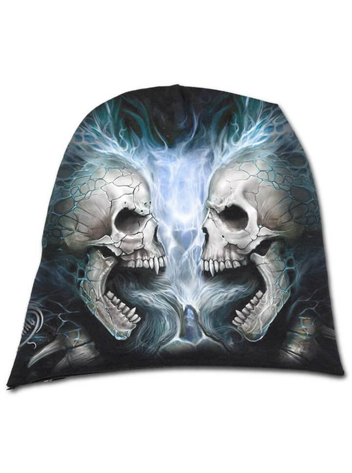 """Flaming Spine"" Beanie by Spiral USA (Black) - www.inkedshop.com"