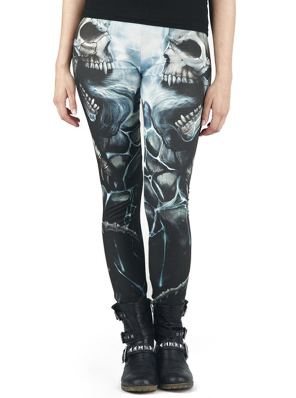 "Women's ""Flaming Spine"" Allover Leggings by Spiral USA (Light Blue)"