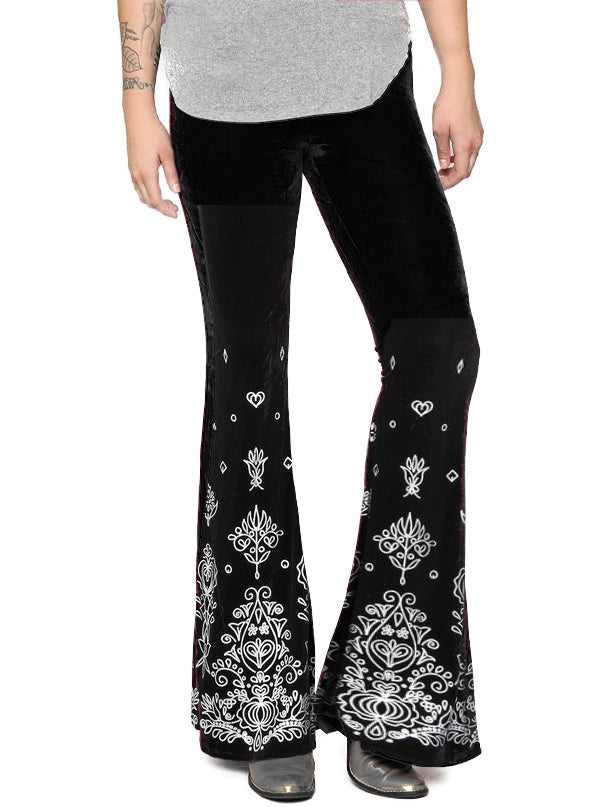 "Women's ""Bohemian Rhapsody"" Velvet Flare Pants by Pretty Attitude Clothing (Black)"