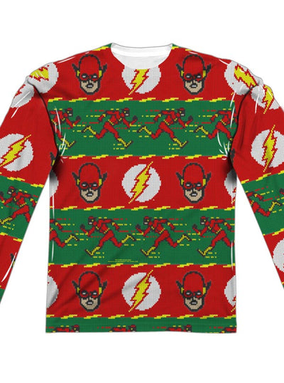 Men's The Flash Ugly Holiday Sweater Long Sleeve Tee by DC Comics