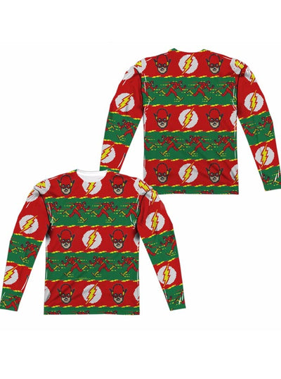 "Men's ""The Flash"" Ugly Holiday Sweater Long Sleeve Tee by DC Comics (Red)"