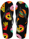 "Unisex ""Junk Food"" Flip Flops by Skelly & Co (Black)"