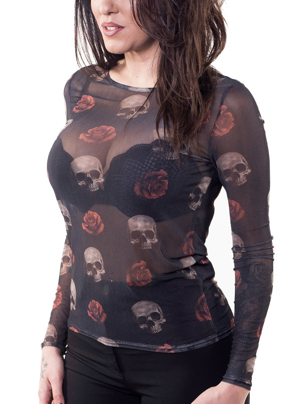 Women's Floating Skulls Sheer Long Sleeve Top by Lethal Angel