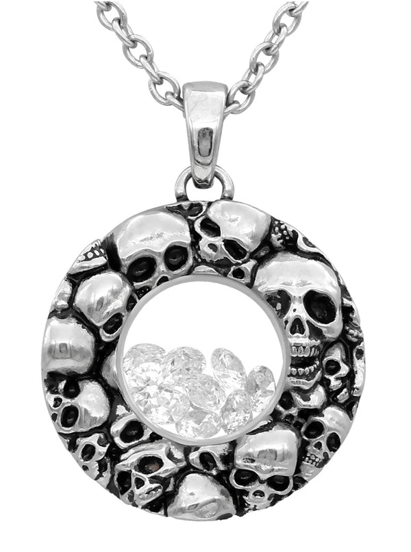 """Skulls Floating Charm"" Necklace by Controse (Silver)"