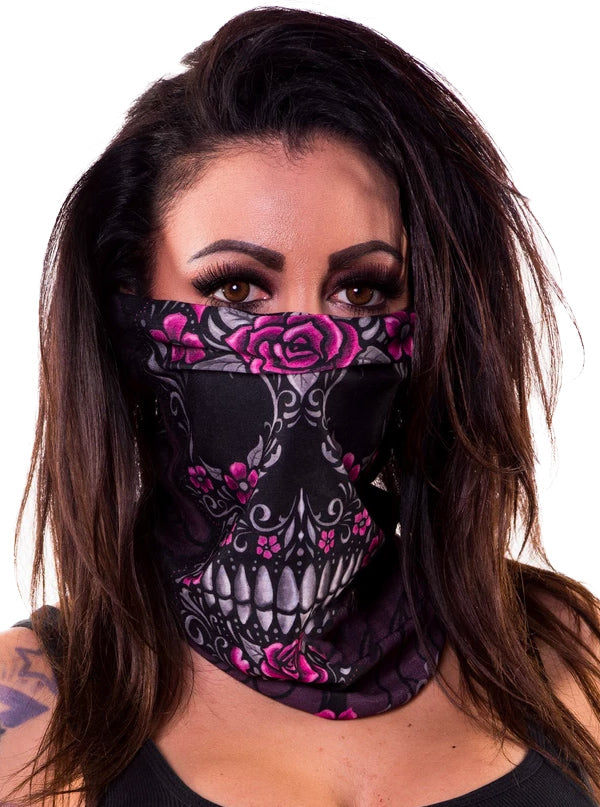 Floral Skull Motorcycle Face Mask by Lethal Angel