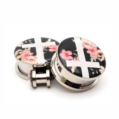 Vintage Floral Cross Picture plugs by Mystic Metals Body Jewelry - InkedShop - 1