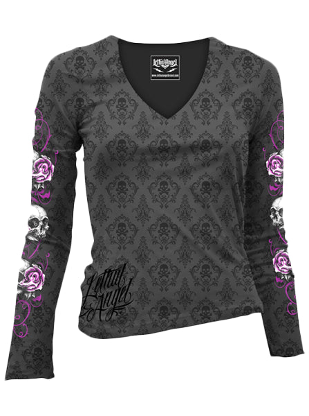 "Women's ""Floral Skull"" Long Sleeve Burnout Tee by Lethal Angel (Grey) - www.inkedshop.com"