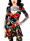 "Women's ""Floral"" Lola Dress by Switchblade Stiletto (Black)"