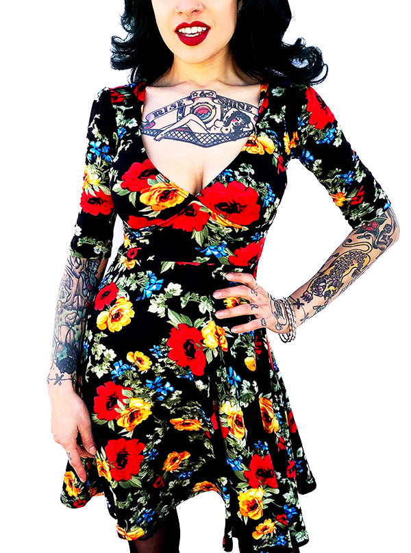 Women's Floral Lola Dress by Switchblade Stiletto (Black)