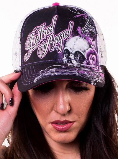Floral Skull Rose Hat by Lethal Angel