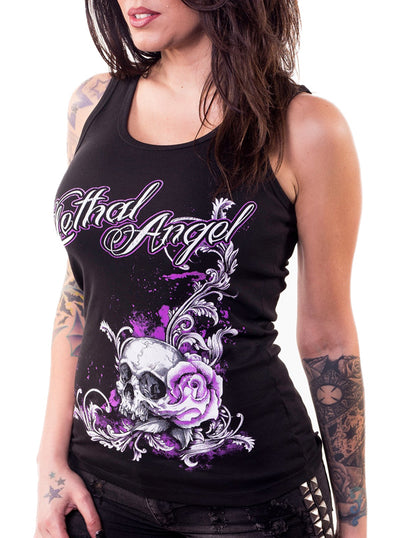 Women's Floral Skull Tank by Lethal Angel