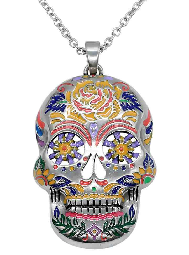Floral Sugar Skull Necklace by Controse (Silver/Multi)