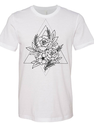 "Unisex ""Flowers Triangle"" Tee By RealRebel (White)"