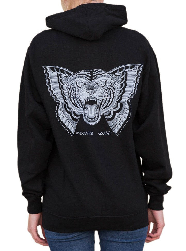 "Women's ""Flying Tiger"" Hoodie by Black Market Art (Black) - www.inkedshop.com"